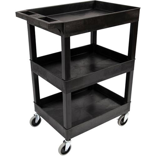 "Luxor 24"" x 18"" 3-Shelf Utility Tub Cart (Black)"
