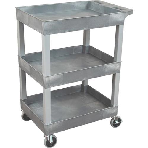 "Luxor 24"" x 18"" 3-Shelf Utility Tub Cart (Gray)"