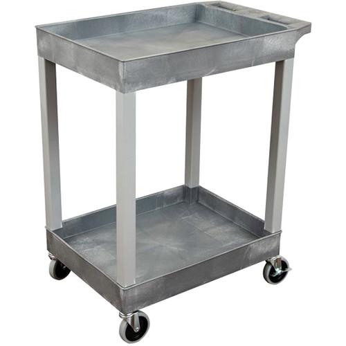"Luxor 24"" x 18"" 2-Shelf Utility Tub Cart (Gray)"