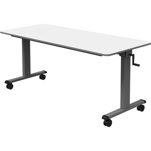 "Luxor 60"" Adjustable Flip-Top Table with Crank Handle"