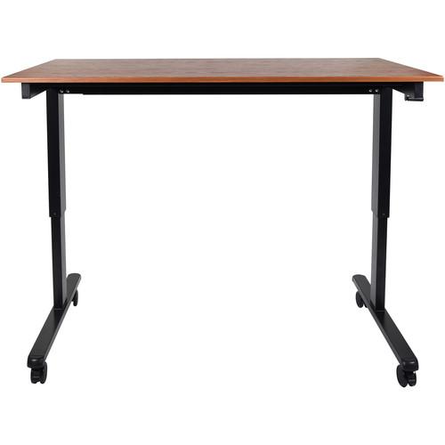 """Luxor 60"""" Crank Adjustable Stand-Up Desk (Teak, Black Frame)"""