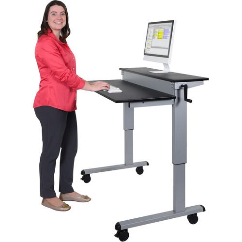 """Luxor 48"""" Split-Level Crank Adjustable Stand-Up Desk (Black Desk, Silver Frame)"""