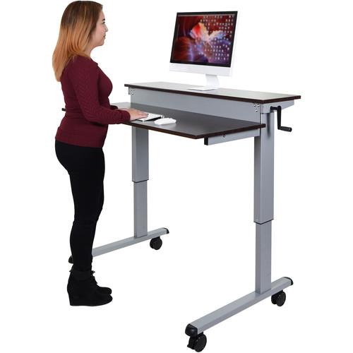 """Luxor 48"""" Split-Level Crank Adjustable Stand-Up Desk (Dark Walnut Desk, Silver Frame)"""