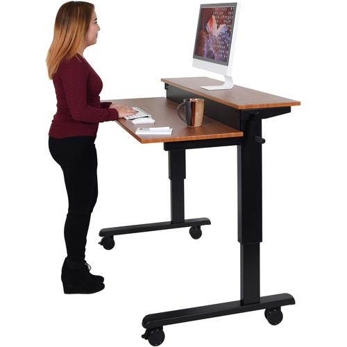 """Luxor 48"""" Split-Level Crank Adjustable Stand-Up Desk (Teak Desk, Black Frame)"""