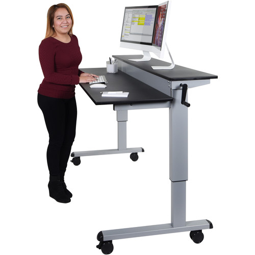 """Luxor 60"""" Split-Level Crank Adjustable Stand-Up Desk (Black Desk, Silver Frame)"""