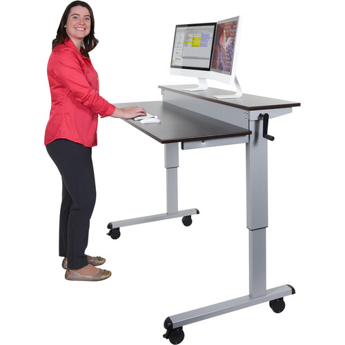 "Luxor 60"" Split-Level Crank Adjustable Stand-Up Desk (Dark Walnut Desk, Silver Frame)"