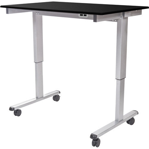 "Luxor 48"" Electric Standing Desk (Black Oak, Silver Frame)"