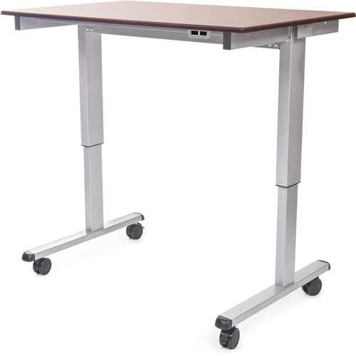 "Luxor 48"" Electric Standing Desk (Dark Walnut, Silver Frame)"