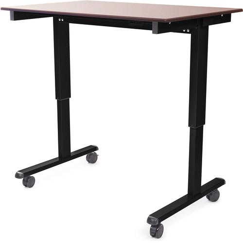 "Luxor 48"" Electric Standing Desk (Dark Walnut, Black Frame)"