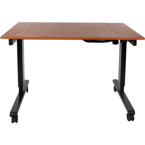 "Luxor 48"" Electric Standing Desk (Teak, Black Frame)"