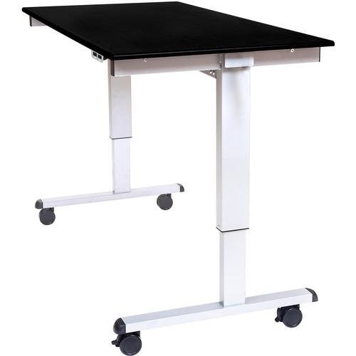 "Luxor 60"" Electric Standing Desk (Black Oak, Silver Frame)"
