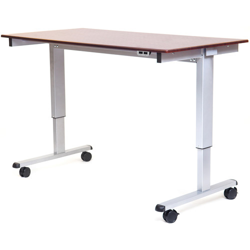"Luxor 60"" Electric Standing Desk (Dark Walnut, Silver Frame)"