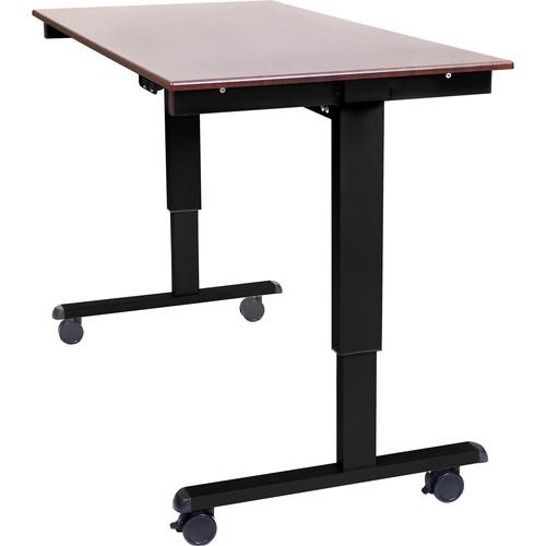 "Luxor 60"" Electric Standing Desk (Dark Walnut, Black Frame)"