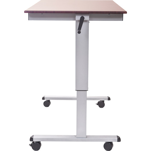 "Luxor 48"" Crank Adjustable Stand-Up Desk (Dark Walnut Desk, Silver Frame)"