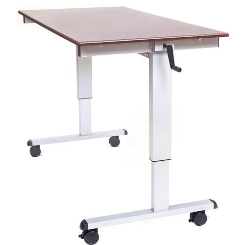 """Luxor 60"""" Crank Adjustable Stand-Up Desk (Dark Walnut Desk, Silver Frame)"""