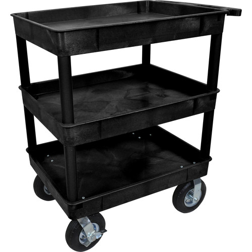"Luxor Large Tub Cart with Three Shelves and Four 8"" Casters (Black)"