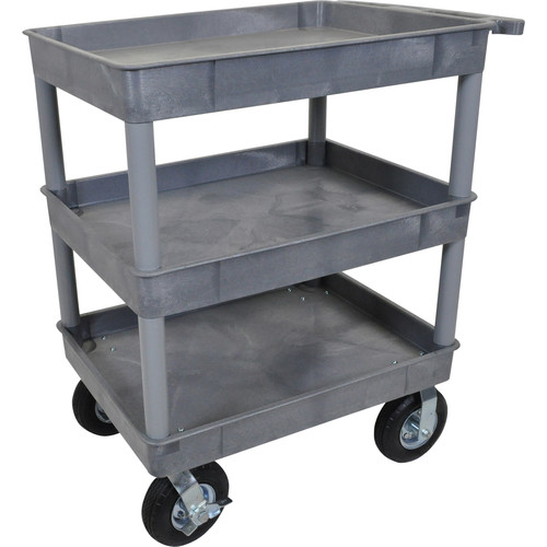 "Luxor Large Tub Cart with Three Shelves and Four 8"" Casters (Gray)"