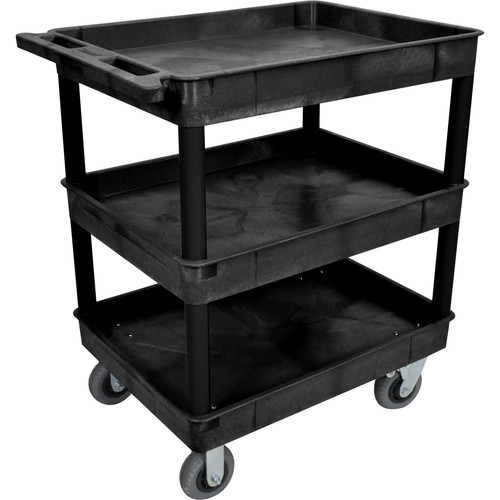 "Luxor Large Tub Cart with Three Shelves and Four 6"" Casters (Black)"