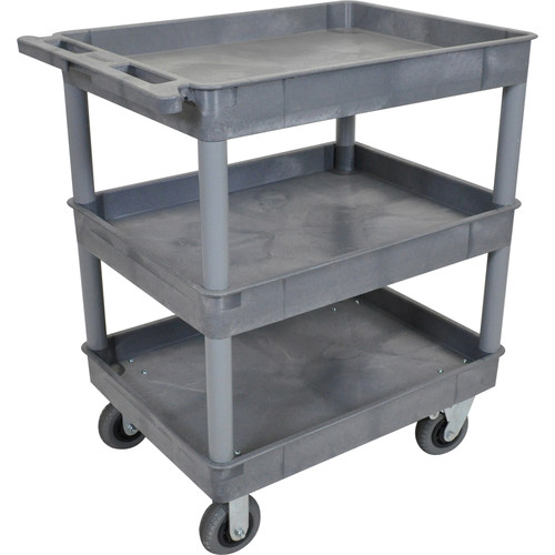 "Luxor Large Tub Cart with Three Shelves and Four 6"" Casters (Gray)"