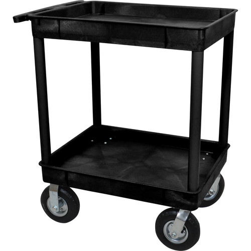 "Luxor Large Tub Cart with Two Tub Shelves and Four 8"" Casters (Black)"