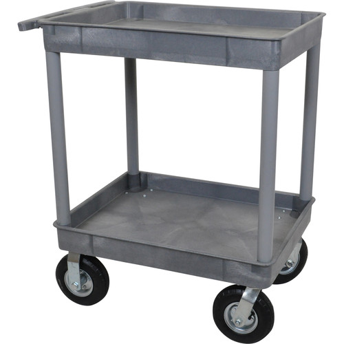 "Luxor Large Tub Cart with Two Tub Shelves and Four 8"" Casters (Gray)"