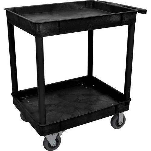 "Luxor Large Tub Cart with Two Shelves and Four 6"" Casters (Black)"