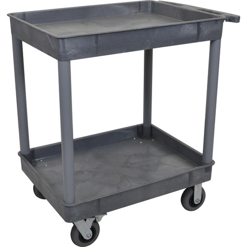 "Luxor Large Tub Cart with Two Shelves and Four 6"" Casters (Gray)"