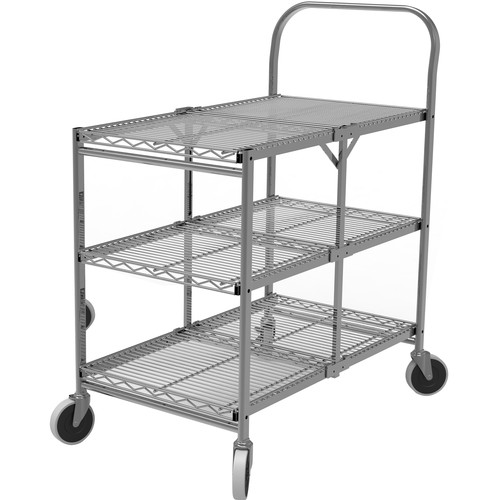 Luxor Three-Shelf Collapsible Wire Utility Cart