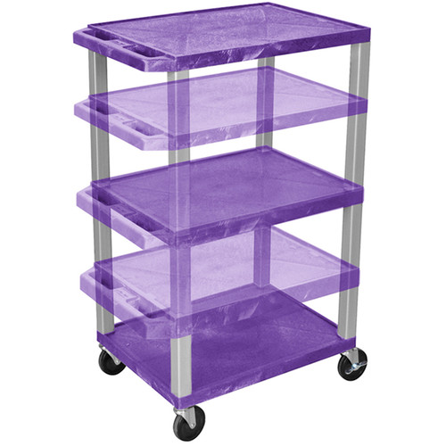 Luxor Multi-Height A/V Cart with 3 Shelves (Purple with Putty Legs)