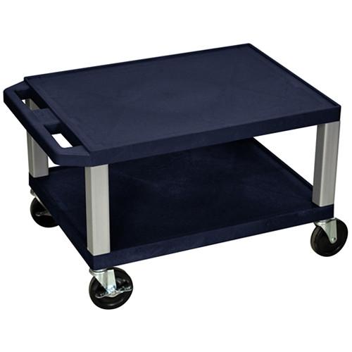 "Luxor 16"" Tuffy 2-Shelf Cart (Navy with Nickel Legs)"