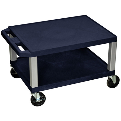 "Luxor 16"" Tuffy 2-Shelf Cart (Navy with Nickel Legs)"