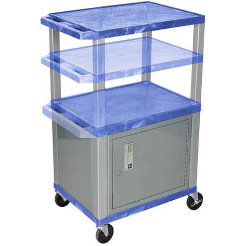 Luxor Multi-Height A/V Cart with 3 Shelves, 3-Outlet Electrical Assembly, and Cabinet (Blue Shelves, Nickel-Colored Legs and Cabinet)