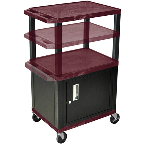 Luxor Multi-Height A/V Cart with Three Shelves and Cabinet (Burgundy Shelves, Black Cabinet and Legs)