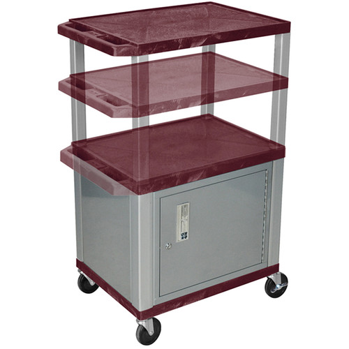 Luxor Multi-Height A/V Cart with 3 Shelves, 3-Outlet Electrical Assembly, and Cabinet (Burgundy Shelves, Nickel-Colored Legs and Cabinet)