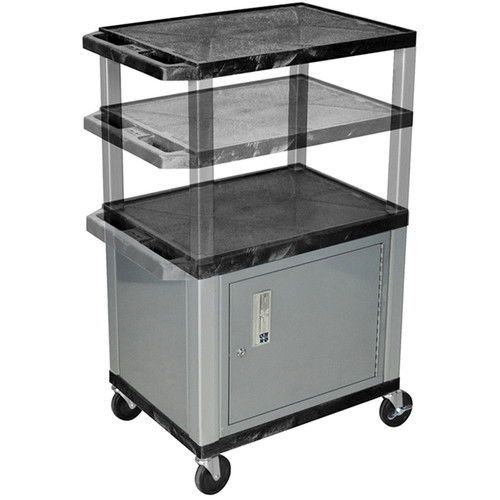 Luxor Multi-Height A/V Cart with 3 Shelves, 3-Outlet Electrical Assembly, and Cabinet (Black Shelves, Nickel-Colored Legs and Cabinet)