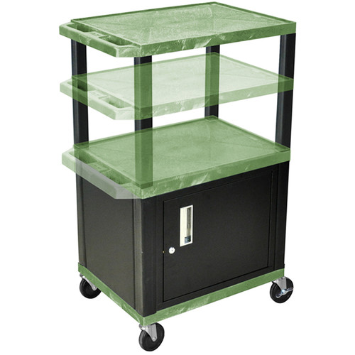 Luxor Multi-Height A/V Cart with Three Shelves and Cabinet (Green Shelves, Black Cabinet and Legs)