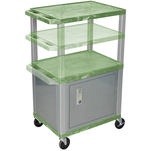 Luxor Multi-Height A/V Cart with 3 Shelves, 3-Outlet Electrical Assembly, and Cabinet (Green Shelves, Nickel-Colored Legs and Cabinet)