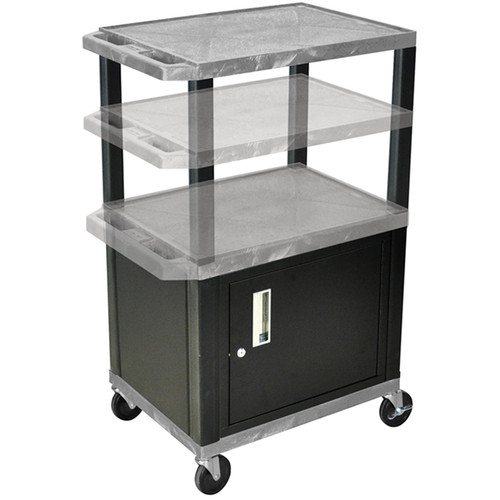 Luxor Multi-Height A/V Cart with Three Shelves and Cabinet (Gray Shelves, Black Cabinet and Legs)