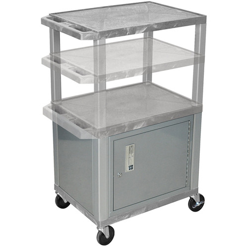 Luxor Multi-Height A/V Cart with 3 Shelves, 3-Outlet Electrical Assembly, and Cabinet (Gray Shelves, Nickel-Colored Legs and Cabinet)