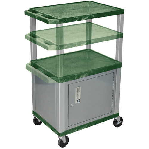 Luxor Multi-Height A/V Cart with 3 Shelves, 3-Outlet Electrical Assembly, and Cabinet (Hunter Green Shelves, Nickel-Colored Legs and Cabinet)
