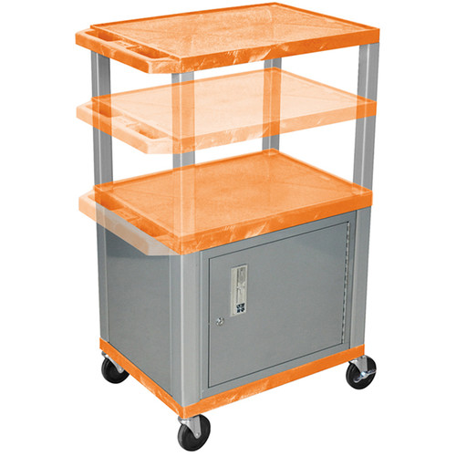 Luxor Multi-Height A/V Cart with 3 Shelves, 3-Outlet Electrical Assembly, and Cabinet (Orange Shelves, Nickel-Colored Legs and Cabinet)