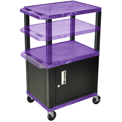 Luxor Multi-Height A/V Cart with Three Shelves and Cabinet (Purple Shelves, Black Cabinet and Legs)