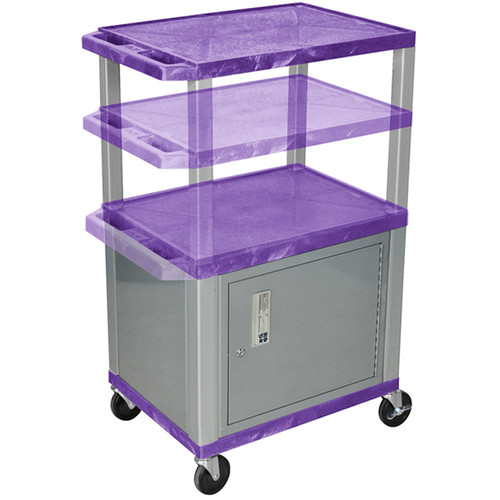 Luxor Multi-Height A/V Cart with 3 Shelves and Cabinet (Purple Shelves, Nickel-Colored Legs and Cabinet)