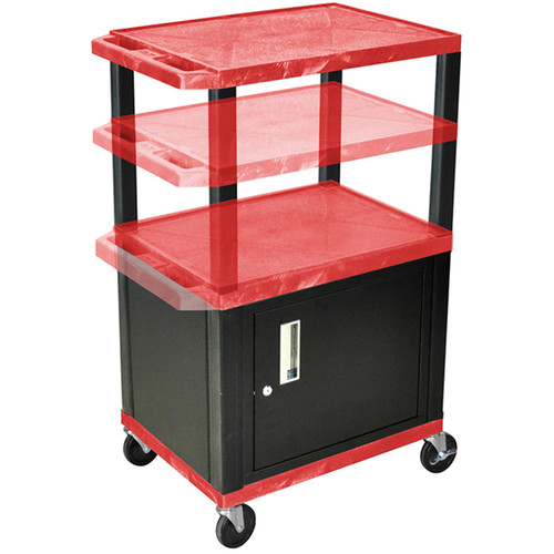 Luxor Multi-Height A/V Cart with Three Shelves and Cabinet (Red Shelves, Black Cabinet and Legs)