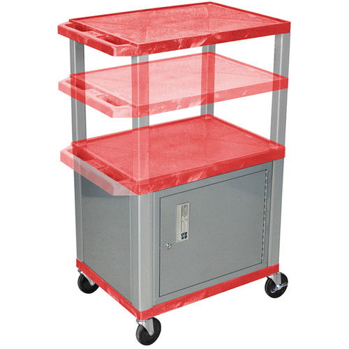 Luxor Multi-Height A/V Cart with 3 Shelves, 3-Outlet Electrical Assembly, and Cabinet (Red Shelves, Nickel-Colored Legs and Cabinet)