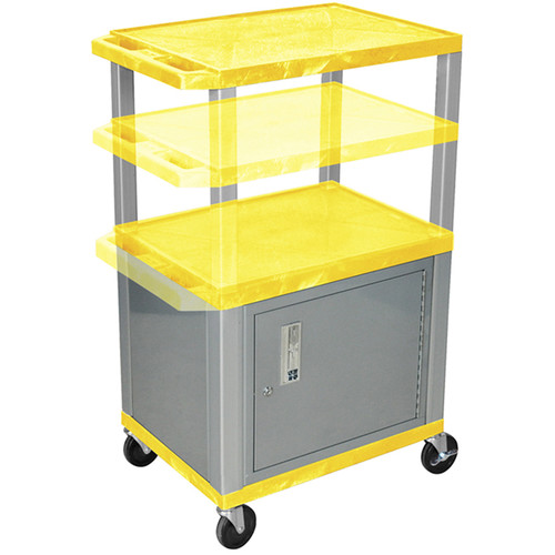 Luxor Multi-Height A/V Cart with 3 Shelves, 3-Outlet Electrical Assembly, and Cabinet (Yellow Shelves, Nickel-Colored Legs and Cabinet)