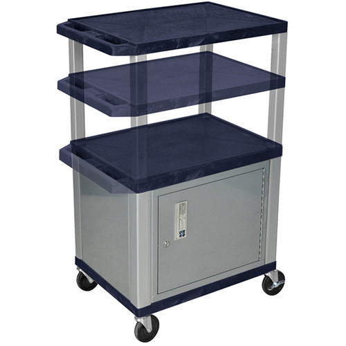 Luxor Multi-Height A/V Cart with 3 Shelves, 3-Outlet Electrical Assembly, and Cabinet (Navy Shelves, Nickel-Colored Legs and Cabinet)