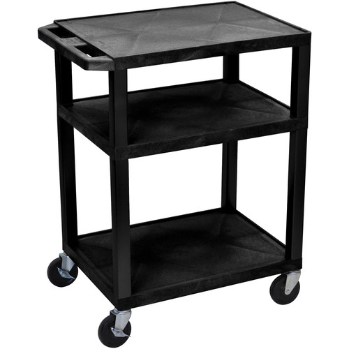 """Luxor 34"""" A/V Cart with 3 Shelves (Black Shelves, Black Legs)"""