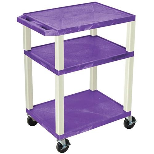 "Luxor 34"" Tuffy Open Shelf A/V Cart with 3 Shelves (Black Shelves, Putty Legs)"