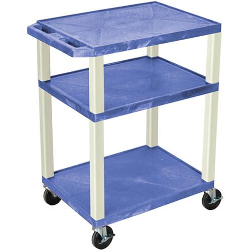 "Luxor 34"" Tuffy Open Shelf A/V Cart with 3 Shelves (Blue Shelves, Putty Legs)"